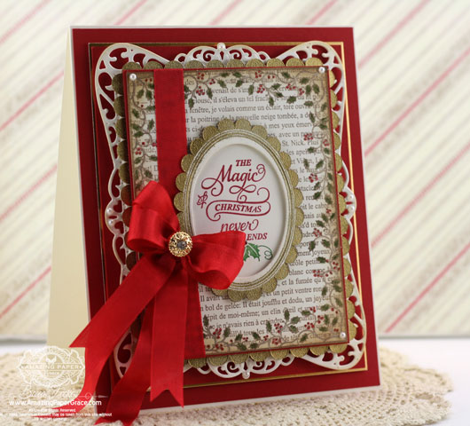 JustRite Papercrafts - Holly Frame Background Stamp, Christmas Inner Thoughts - Spellbinders Timeless Rectangles, Spellbinders Exquisite Labels Eleven, Spellbinders Classic Ovals LG