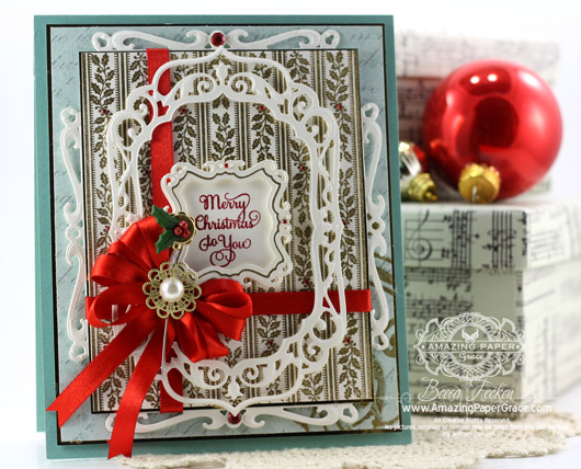 JustRite Stampers - Holly Stripes Background Stamp, Spellbinders Captivating Squares, Spellbinders Elegant Labels Four, Spellbinders Labels Four, Spellbinders Circle Hatpins