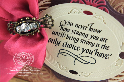 Quietfire Design - I Wouldn't Have Missed Being Your Friend - Designed by Becca Feeken Spellbinders Cabbage Roses, Spellbinders Bird Cage Two, Spellbinders Classic Ovals LG, Spellbinders Labels Thirty Two, Spellbinders Gold Ovals One (closeup)