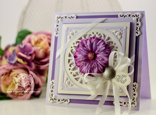 Card Making Ideas from Amazing Paper Grace using Justrite Papercrafts – JustRite Lacey Tiers and Large Elegant Sentiments, Spellbinders Captivating Squares and Spellbinders Back to Basic Tags