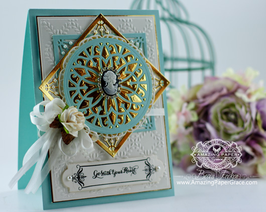 Card Making Ideas by Amazingpapergrace using JustRite Custom Lacey Tiers, JustRite Custom Vintage Labels Four, Spellbinders Stately Circles, Spellbinders 5x7 Matting Basics A, Spellbinders Garden Lattice Embossing Folder