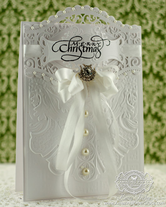 Card Making Ideas by Amazing Paper Grace using Quietfire Design - Christmas is the Day, Spellbinders Roman Romance, Spellbinders Curved Borders Two, Spellbinders Fancy Tags Two