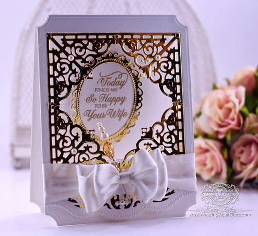 Card Making Ideas by Amazingpapergrace.com using JustRite Filigree Corners with Mix and Match Sentiments, Spellbinders Grand Large Labels, Spellbinders Grand Squares, Spellbinders Floral Ovals, Spellbinders Classic Ovals LG, Spellbinders Scalloped Borders Two (side view)
