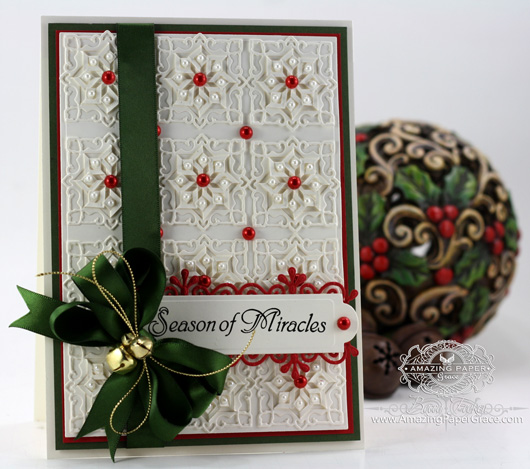 Card Making ideas by amazingpapergrace.com using JustRite Heritage Christmas Ornaments LG, Spellbinders Folded Lace, 5 x 7 Matting Basics A, Spellbinders Back to Basics Tags, Spellbinders Frosty Forms