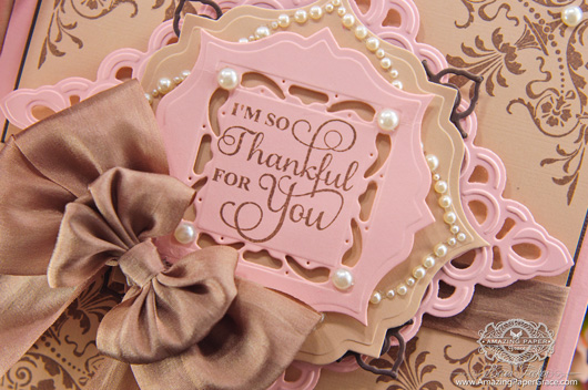 Card Making Ideas Using JustRite Papercraft – Ornate Corners, Autumn Vintage Labels Three, Spellbinders Asian Motifs, Spellbinders Captivating Squares, Spellbinders Labels Thirty Two and Spellbinders Gold Squares One (closeup)