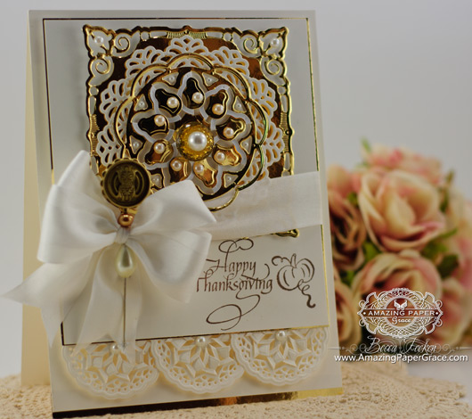 Card making ideas from Becca Feeken using Quietfire Design - Give Thanks Set and Spellbinders