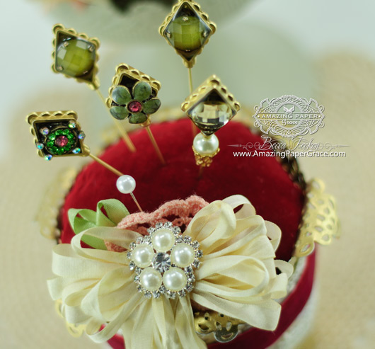 Spellbinders Diamond Hat Pins and Pincushion from a flower pot
