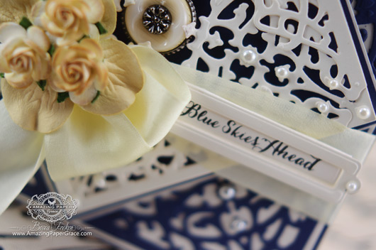 Card making ideas by Becca Feeken using JustRite Filigree Corners (close up)
