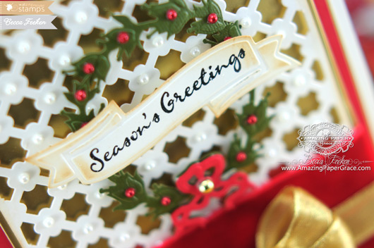 Card Making Ideas by Becca Feeken using Waltzingmouse Compliments of the Season and Spellbinders (closeup)