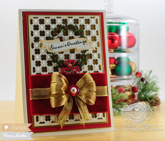 Card Making Ideas from Becca Feeken using Waltzingmouse Compliments of the Season and Spellbinders