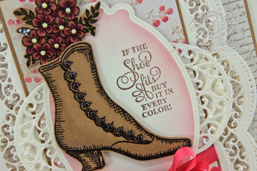 Card Making Ideas by Becca Feeken using JustRite Papercrafts Vintage Shoes Labels Six and Spellbinders