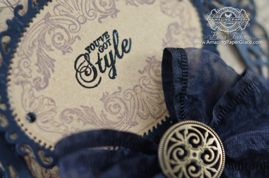 Card Making Ideas by Becca Feeken using JustRite Vintage Fashion Labels Six and Spellbinders (closeup)