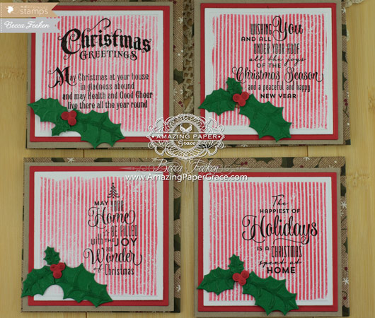 "Card Making Ideas by Becca Feeken using Waltzingmouse Stamps - A Cottage Christmas - 3-1/2"" square cards"