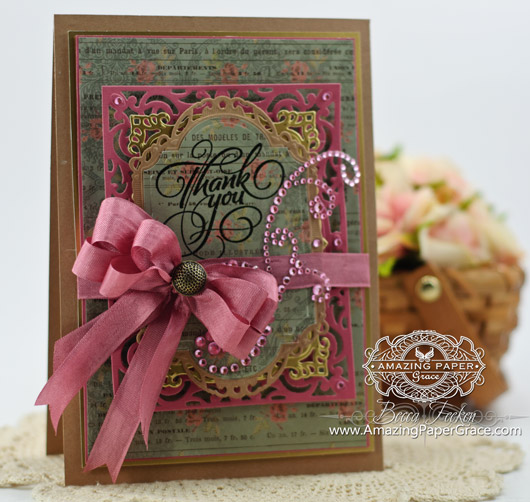 Card Making Ideas by Becca Feeken using JustRite Grand Thank you and Spellbinders
