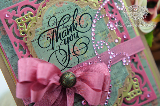 Card Making Ideas by Becca Feeken using JustRite Grand Thank you and Spellbinders (close up)