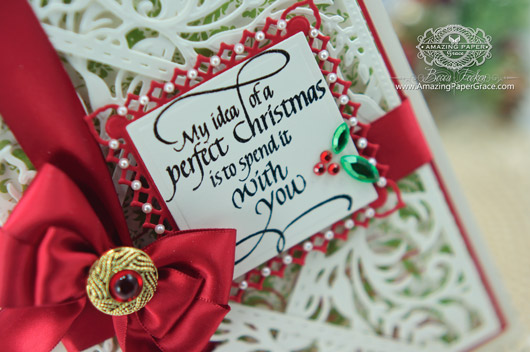 Card Making Ideas by Becca Feeken using Quietfire Design - My Idea of a Perfect Christmas and Spellbinders (closeup)