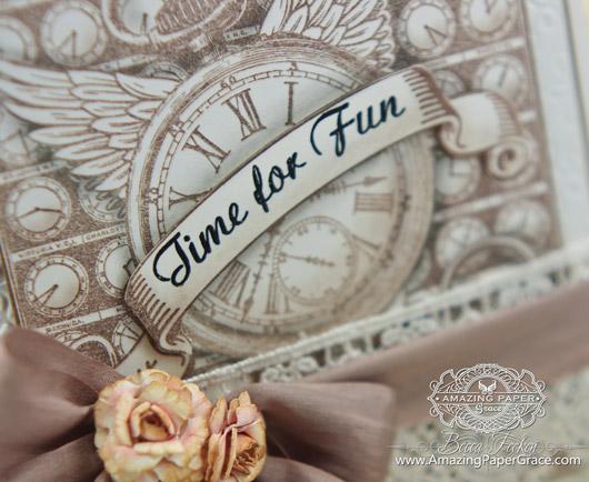 Card Making Ideas by Becca Feeken using JustRite Papercrafts Time Flies and Spellbinders (closeup)