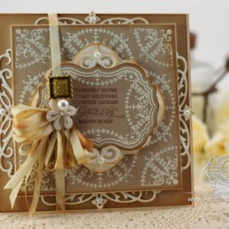 Card Making Ideas by Becca Feeken using JustRite Ribbon and Swags Vintage Labels Seven and Heirloom Flourish One Die