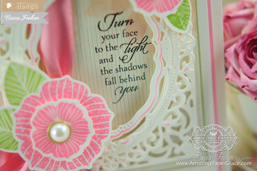 Card Making Ideas using Waltzingmouse Stamps - Funky Flowers and Light of the World along with Spellbinders (close-up)