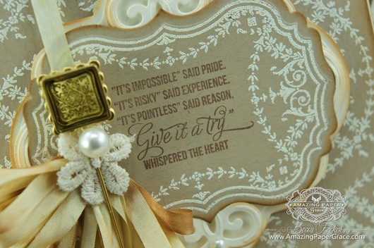 Card Making Ideas by Becca Feeken using JustRite Ribbon and Swags Vintage Labels Seven and  Heirloom Flourish One Die (close-up)