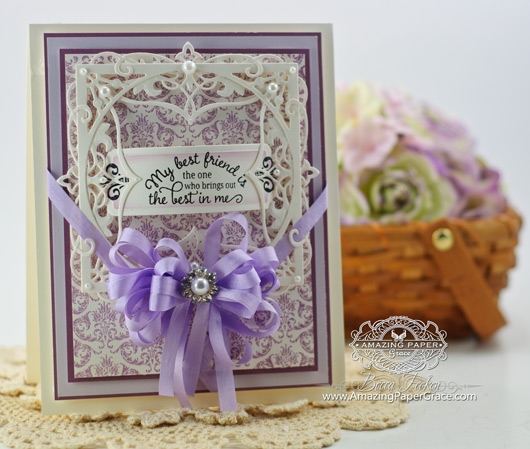 Card Making ideas by Becca Feeken using Friendship Vintage Labels Seven and Heirloom Flourish One, Lacey Tiers and Vintage Sentiment Tag