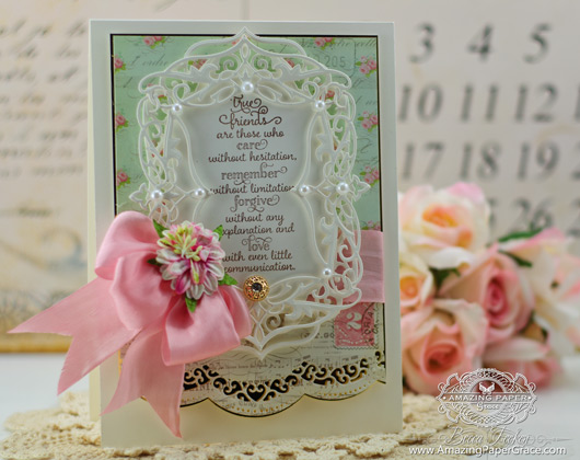 Card Making Ideas by Becca Feeken using JustRite Friendship  Vintage Labels Seven, Heirloom Die One, Curved Borders Two and Elegant Labels Four