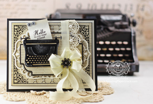 Card Making Ideas by Becca Feeken using JustRite and New Spellbinders Typewriter