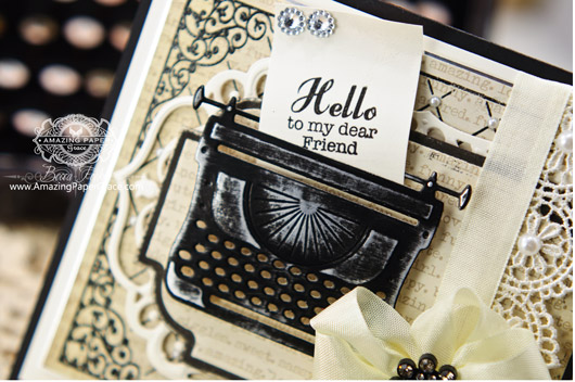 Card Making Ideas by Becca Feeken using JustRite and New Spellbinders Typewriter (closeup)