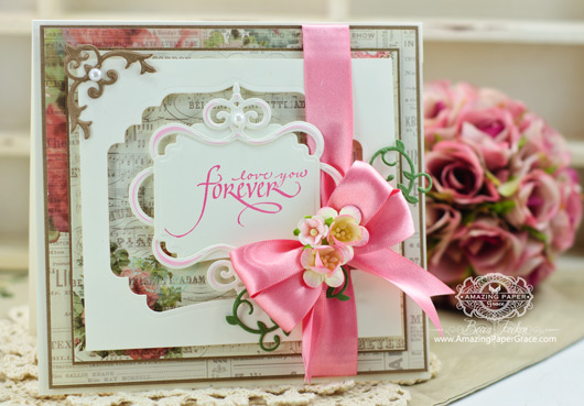 Card Making Ideas by Becca Feeken using Quietfire Calligraphic Love Bits and 2014 Spellbinders Labels Thirty Seven
