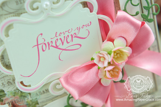 Card Making Ideas by Becca Feeken using Calligraphic Love Bits and 2014 Spellbinders Labels Thirty Seven (close up)