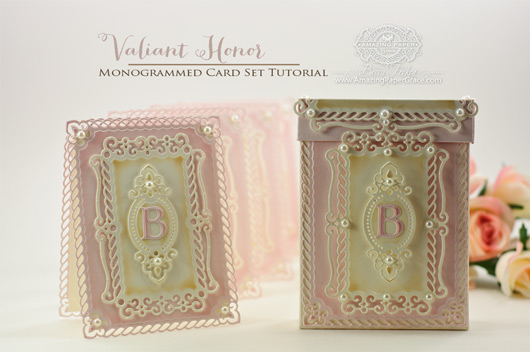Valiant Honor Monogrammed Card Set Tutorial by Becca Feeken
