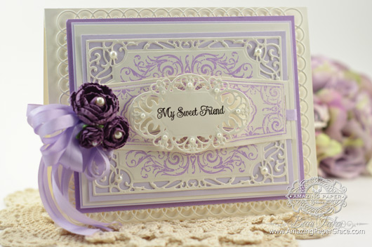 Card Making Ideas by Becca Feeken using JustRite Diamond Filigree and Happy Occasions Belly Band Two