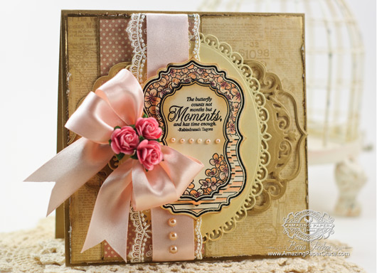 Card Making Ideas by Becca Feeken using JustRite Papercrafts Hydrangea Vintage Labels Seven and 2014 Spellbinders Elegant Ovals