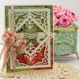 Card Making Ideas by Becca Feeken using Spellbinders Majestic Labels Twenty Fiive, Fleur de Lis Squares, Flourish Corners and Bird Banner