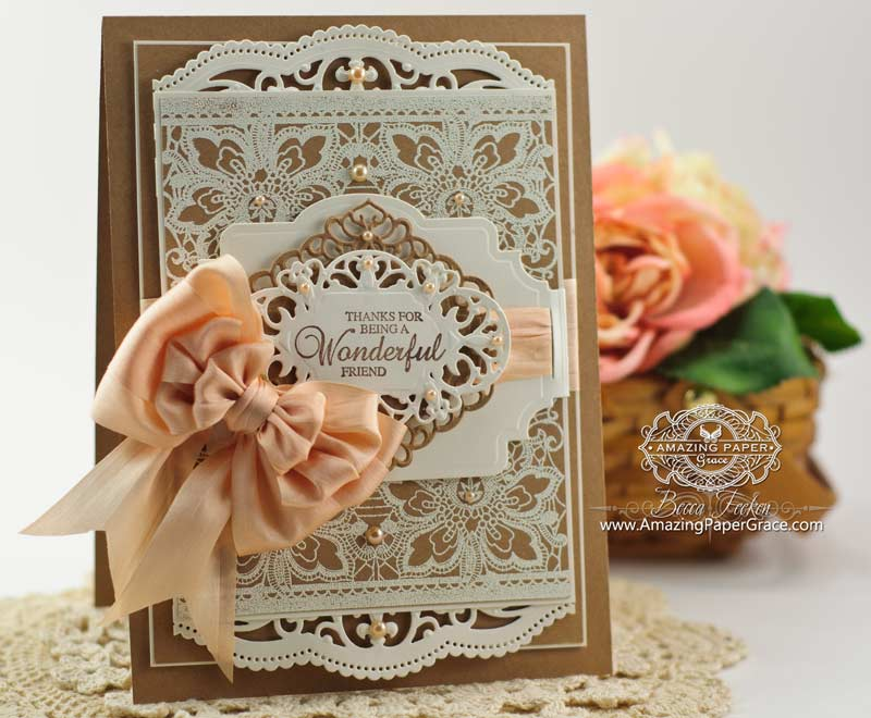 Delightful Papercraft Card Making Ideas Part - 4: Card Making Ideas By Becca Feeken Using JustRite Floral Lace Vintage Tag  Background And Spellbinders Belly