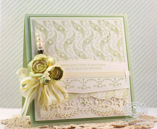 Card Making Ideas by Becca Feeken using JustRite Cascading Ferns and Spellbinders Belly Band Two