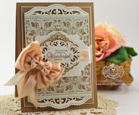 Card Making Ideas by Becca Feeken using JustRite Floral Lace Vintage Tag Background and Spellbinders Belly Band One and Divine Eloquence