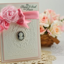 Card Making Ideas by Becca Feeken using JustRite Magnolia Vintage Labels Seven, Spellbinder Mediteranean Medallion and Spellbinders Create a Rose