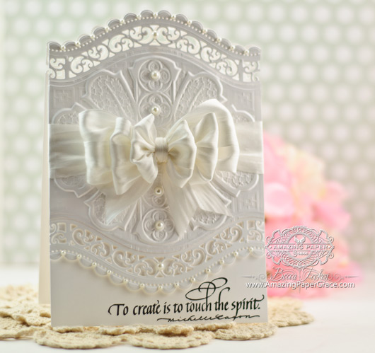 Card Making Idea by Becca Feeken using Quietfire Design and Spellbinders Roman Romance with A2 Curved Borders Two
