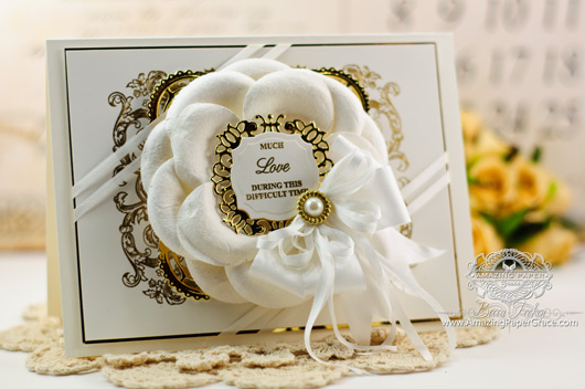 Sympathy Card Making Idea by Becca Feeken using JustRite  Baroque Frame Background and Spellbinders Decorative Labels Thirty Four