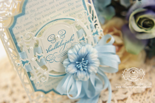Easter Card Making Ideas by Becca Feeken using Spellbinders Divine Eloquence and Labels Twenty Eight (close up)