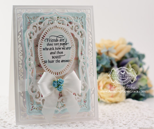 Friendship Card Making Ideas by Becca Feeken using QuietFire Design - Friends are Those Rare People and Spellbinders Elegant Labels Four