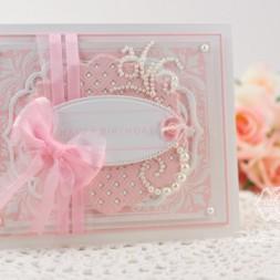 Happy Birthday Card Making Ideas by Becca Feeken using JustRite Applique Flowers and Spellbinders Lattice Motifs