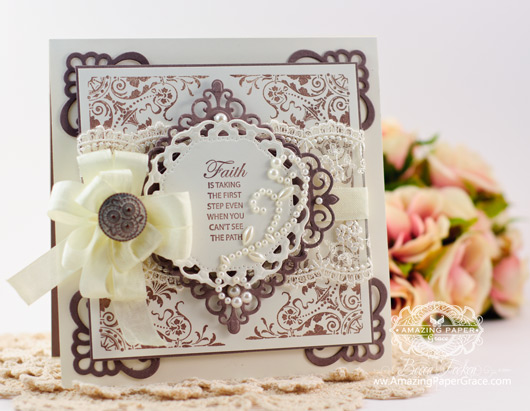 Card Making Ideas by Becca Feeken using JustRite  Congrats Vintage Labels Three and Seven and Spellbinders