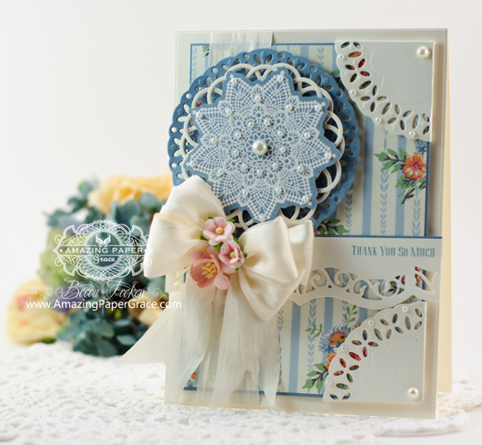 Thank You Card Making ideas by Becca Feeken using JustRite Doily One and Spellbinders Delightful Circles