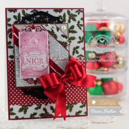 Christmas Card Making Ideas by Becca Feeken using Waltzingmouse Tag Collectoin 1 and Spellbinders Adorning Labels 25