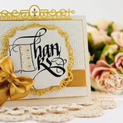 Thank You Card Making Ideas by Becca Feeken using Quietfire Fill 'Er Up T and Spellbinders Decorative Labels Thirty Four