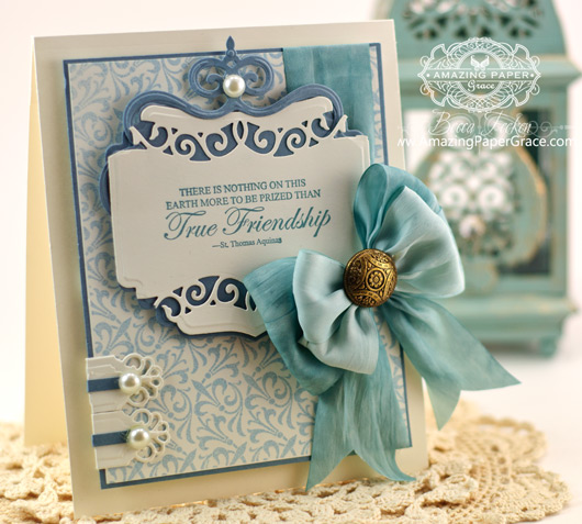 Friendship Card Making Ideas by Becca Feeken using JustRite Twisted Fleur and Spellbinders Labels Thirty Seven
