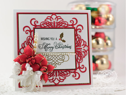 Christmas Card Making Ideas by Becca Feeken using JustRite Heirloom Flourish Two and  Elegant Christmas Swirls
