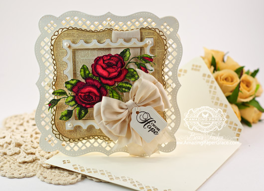 Card Making Ideas by Becca Feeken using Spellbinders Bracket Border One and JustRite Rose Bouquet with envelope
